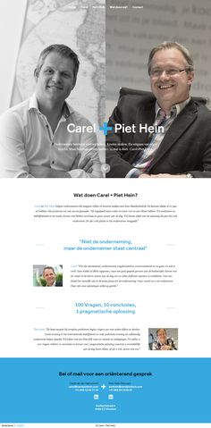 Unique split screen layout in this one pager for two Dutch entrepreneurs and advisors. It's refreshing seeing designers think out side the box and they'll pulled this off well.