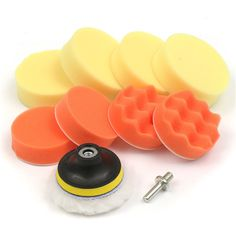6pcs 3 Inch Polishing Buffer Pad with Drill Adapter and Waxing Pads