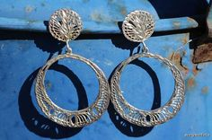 Vintage Sterling Silver Filigree Hoop Pierced Post Earrings $44.99