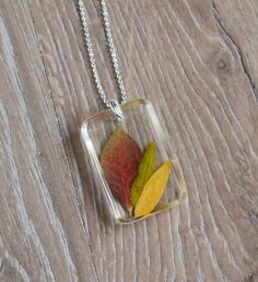 Autumn Leaf Necklace, Resin Jewelry, Real Leaf Necklace, Red Leaf ...