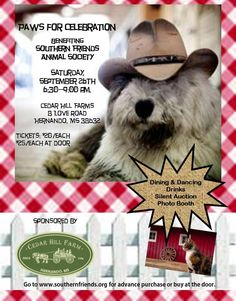 Our Annual Fundraiser: PAWS for Celebration! Don't miss this fun evening! All proceeds go to the animals in our care!