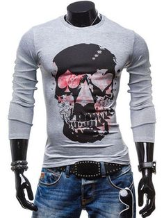 more photos a1b4f 49815 Round Neck Skulls Print Color Block Long Sleeves Slim Fit T Shirt For Men  FREE SHIPPING