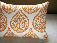 """$38 Tree and Fern motif is shaped like a fig...hand stamped in bright orange on gorgeous white linen and sewn into this 12"""" x 16"""" lumbar pillow."""
