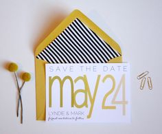 Overlapping Text typography Save the Date // Wedding Invitation. $1.50, via Etsy.