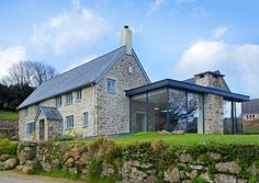 london old stone house exterior farmhouse with etched glass extension Stone Exterior Houses, Old Stone Houses, Wall Exterior, Exterior Remodel, Exterior Design, Farmhouse Renovation, Modern Farmhouse Exterior, Farmhouse Remodel, Devon House