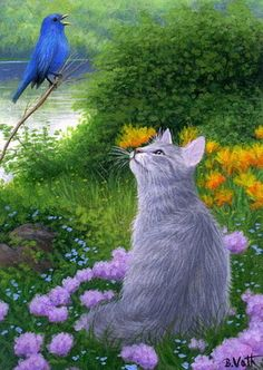 Grey tabby cat indigo bunting bird summer limited edition aceo print art by Bridget Voth