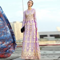 Casual Dress 2017 New Long Sleeve Mesh Hollow Embroidery Star Style Lavender Elegant Floor Length High Quality Dress