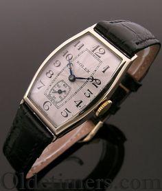 A 9ct gold tonneau vintage Rolex watch, 1929
