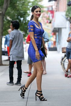 Victoria Justice is seen arriving at Herve Leger By Max Azria fashion show during Spring 2016 New York Fashion Week on September 2015 in New York City. Victoria Justice, Max Azria, New York Fashion, City Fashion, Vicky Justice, Divas, Talons Sexy, Princess Victoria, Herve Leger