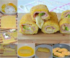 Ak sa vám nechce nič vymýšľať a chcete rýchly a chutný obed, toto je super nápad. Mäkučké rolky bez kysnutia, plnené šunkou, syrom a cuketou. Baked Eggs, Bagel, Finger Foods, Doughnut, Mozzarella, Buffet, Sushi, Food And Drink, Stuffed Peppers