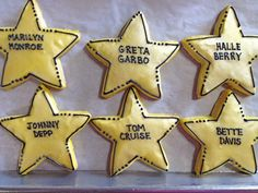 Hollywood star cookies by BennysBakeryCakes, via Flickr  Instead of celebrity names, put names of YW