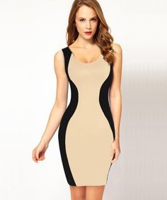 Women s Contrast Bodycon Slimming Fitted Black Splicing Dress Pretty Outfits fb2bebf6ce69