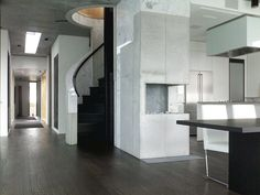 Stair. Concrete, marble. Villa Dammansvei. Bygdøy, 2007. Hille Strandskogen Arkitekter. Gray Houses, Concrete, Marble, Villa, Interiors, Architecture, Projects, Furniture, Home Decor
