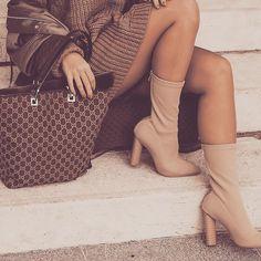 The 'Tamara' Ankle Boots in Beige Knit Lycra by @LuxeToKill as seen on @Nejastoilkovsky  Shop Now - £34.95 // runway96.com