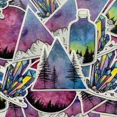So many fun die-cut stickers, all created from original watercolor paintings! Galaxy In A Bottle, Bottle Drawing, Watercolor Stickers, Watercolor Paintings, Galaxy Painting, Galaxy Art, Watercolor Succulents, Leaf Drawing, Mountain Paintings
