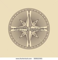 Round Linear Vintage Compass Logo Outline Monochrome Stamp Navigation Brand Design