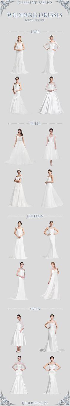Different Fabrics Wedding Dresses, Choose one  FOR YOUR BRIDE ! #Weddingdress