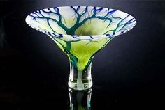 Cobalt Lime Forest: Laurie Thal: Glass Bowls - Artful Home