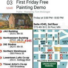 Painting Demo #gallerytour #artcrawl #artopening Lowertown St. Paul near Saints Ballpark http://www.lowertownfirstfridays.org