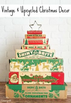 Vintage Christmas Decor Ideas and Upcycled Christmas Decor Ideas such as stacked ornament boxes - compiled by Sadie Seasongoods / www. christmas decorations AMAZING Upcycling Ideas for Christmas Home Decor and Decorations Vintage Christmas Crafts, Vintage Ornaments, Vintage Holiday, Holiday Crafts, Holiday Fun, Retro Christmas Decorations, Holiday Ideas, Glass Christmas Tree Ornaments, Noel Christmas