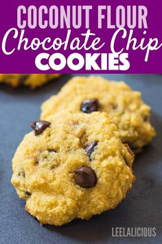 Melt-in-your-mouth soft Chocolate Chip Coconut Flour Cookies that are gluten fre., Desserts, Melt-in-your-mouth soft Chocolate Chip Coconut Flour Cookies that are gluten free, paleo friendly and the recipe can be made keto/low carb. Coconut Flour Desserts, Coconut Flour Cookies, Coconut Chocolate Chip Cookies, No Flour Cookies, Keto Chocolate Chips, Low Carb Desserts, Gluten Free Desserts, Low Carb Recipes, Healthy Recipes