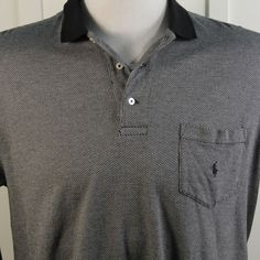Ralph Lauren Polo Golf Mens XL Black Gray Long Sleeve Soft Cotton Shirt #RalphLaurenPoloGolf #PoloRugby