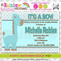 137 DIY Cute Giraffe Party Invitation Or Thank by LilRbwKreations