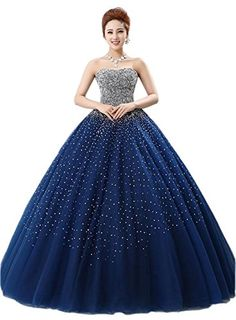 Ikerenwedding Women's Crystal Beads Bodice Quinceanera Dress Tulle Ball Gown Blue US10 Ikerenwedding http://www.amazon.com/dp/B01E6JYI1C/ref=cm_sw_r_pi_dp_buWdxb1AK7S9V