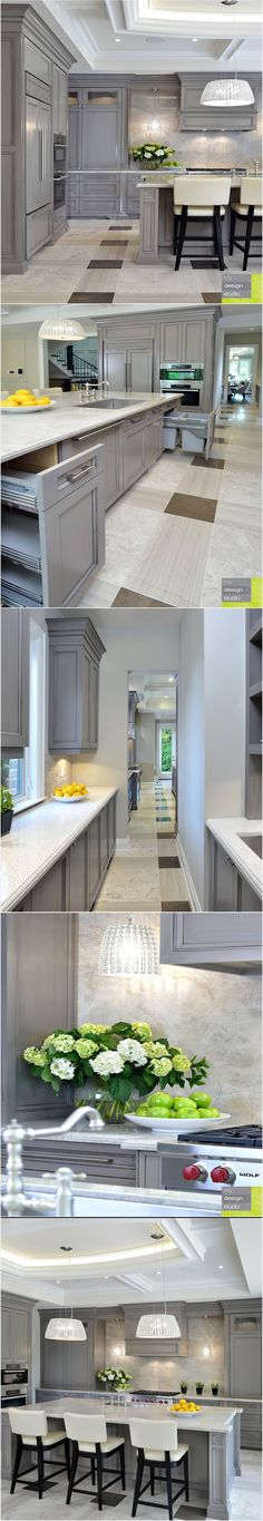 Love how open this is and the gray cabinets with white countertops