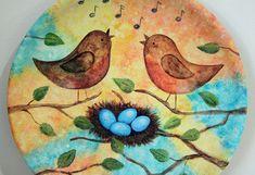 Contemporary Folk Art Wood Plate OOAK Spring by RavensBendFolkArt