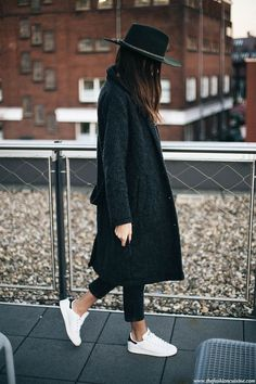 Grey coat, cropped black jeans, fedora & Stan Smith | @styleminimalism