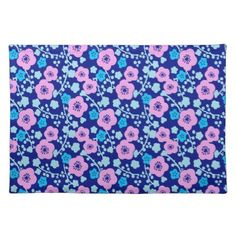Rich blue and pink floral pattern Japanese Plum Cloth Placemat - summer gifts season diy template ideas