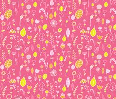 Doodled in Pink fabric by hexo on Spoonflower - custom fabric