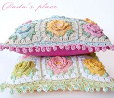 Pastel cushions @ Dada's place: Japanese Flower Crochet Cushion - pattern in Japanese crochet book: https://www.etsy.com/listing/81760752/lets-play-with-color-cute-crochet-and?ref=shop_home_active_18 & free pattern for pompom edging here: http://onceuponapinkmoon.blogspot.com.au/2013/09/pom-pom-edge.html