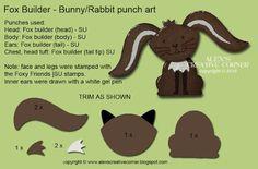 2016  Alex's Creative Corner: Fox Builder Rabbit and Toadstool Punch Art Card
