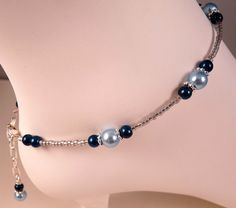 Pearl Anklet Ankle Bracelet Blue Pearl Anklet  Beaded Anklet Beaded Jewelry Pearl Jewelry Blue Jewelry