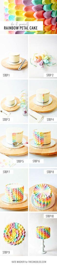 rainbow petal cake - DIY tutorial for a fun birthday cake!