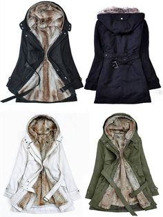 Removable Faux Fur Liner Thicken Hooded Warm Coat Outwear
