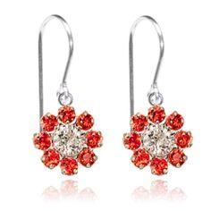 Orange & Crystal Flower Drop Earrings - $19.80