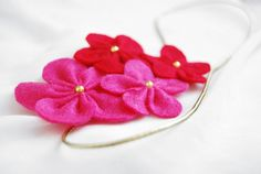 Sweet pink felt flower headband
