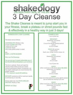 3 Day Shakeology cleanse #fitness #health #cleanse #diet