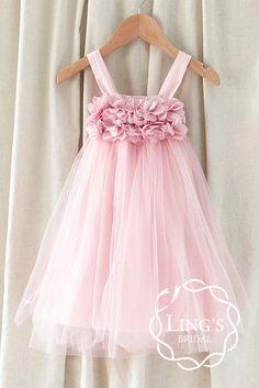 Pink/Dusty Rose Tulle Flower Girl Dress-Strap Baby by LingsBridal Tulle Flower Girl, Flower Girl Dresses, Flower Girls, Little Girl Dresses, Girls Dresses, Robes Tutu, Tulle Dress, Chiffon Dress, Chiffon Flowers