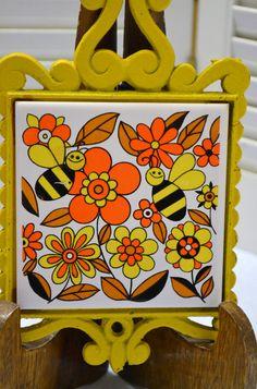 Vintage Cast Iron Trivet Ceramic Tile Bees and Flowers Yellow Orange Japan Retro Kitchen DecorPanchosporch