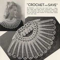 This lovely crochet collar pattern is a series of linked rings staggered around the neck, creating an attractive series of scallops.