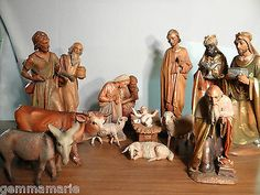 Antique Tall Wood Carved Anri Statue Figurines Christmas Nativity Museum Quality | eBay