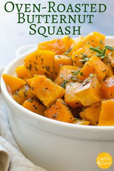 This simple oven-roasted butternut squash is a simple, savory side dish with fresh herbs and garlic. Vegetable Side Dishes, Vegetable Recipes, Vegetarian Recipes, Cooking Recipes, Healthy Recipes, Cooking 101, Whole30 Recipes, Yummy Recipes, Recipies
