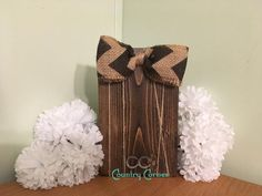 Wood Photo Frame   Dark Stain with Burlap and Black Chevron Bow – CC's Country Corner