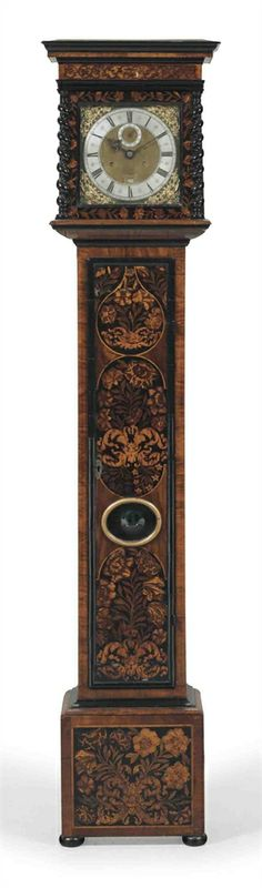 A WILLIAM AND MARY WALNUT, EBONIZED AND FLORAL MARQUETRY LONGCASE CLOCK - SIGNED JOHN CLOWES LONDINI FECIT, CIRCA 1695 #antiques #hardware #cabinetmaking