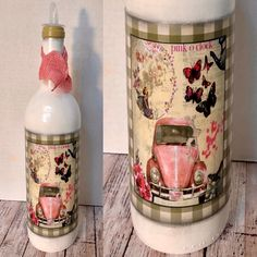 All things Pretty/ PINK Unique kitchen decor. Olive Oil Dispenser, Dish Soap Dispenser, Soap Dispensers, Painted Glass Bottles, Hand Painted Dishes, No Plastic, Bottle Painting, Everything Pink, Pretty In Pink