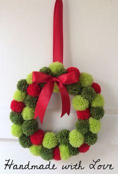 Handmade Pom Pom Wreath - Perfect For Christmas. (Approx In Diameter) Handmade Pom Pom Wreath - Perfect For Christmas. (Approx In Diameter) Christmas Pom Pom Crafts, Knitted Christmas Decorations, Crochet Christmas Gifts, Xmas Wreaths, Noel Christmas, Christmas Knitting, Xmas Decorations, Holiday Crafts, Christmas Ornaments